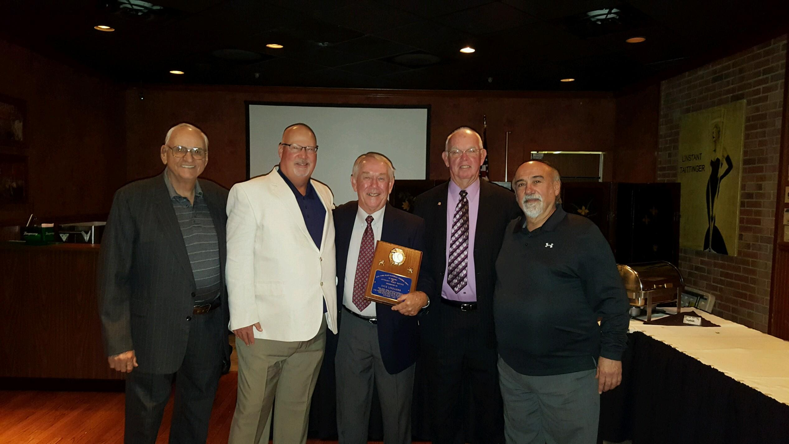 "On Saturday, October 1, the 2016 Anthony ""Tony"" DeVivo Award was presented to Richard ""Dick"" Lindemeyer, center. Other Past awards winners in attendance were, Robert Lang, left; Warren Bumpus, Dick, Joe Grady and Ron Gabriel."
